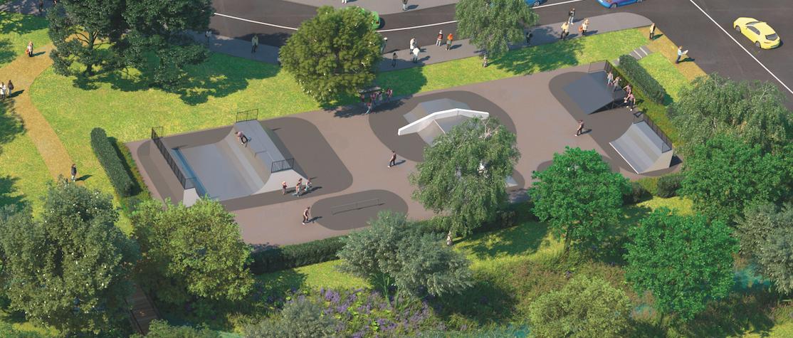 Esquisse non contractuelle du skatepark du parc.